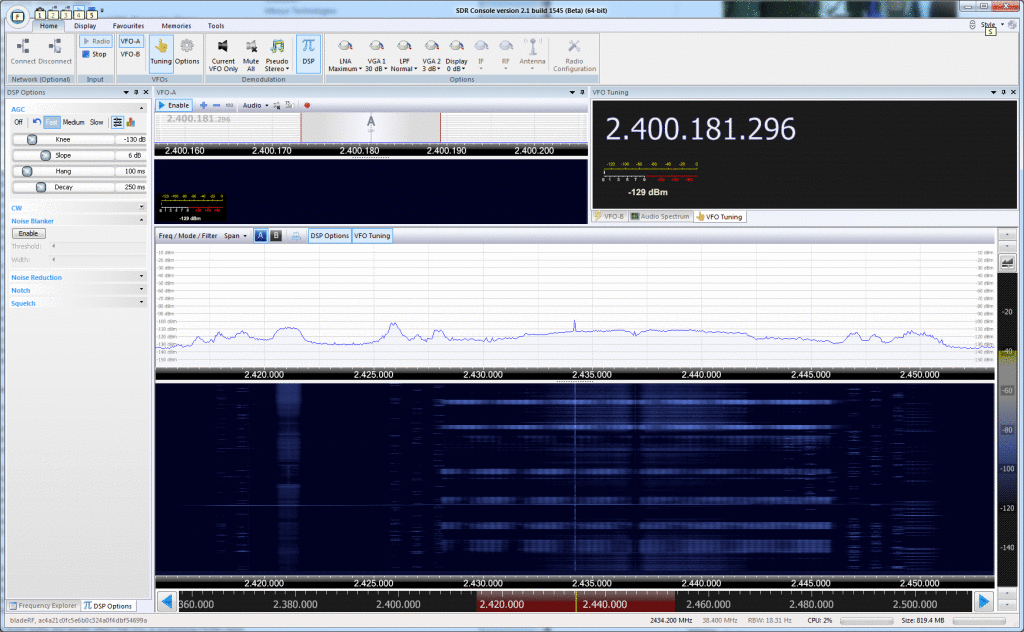 38.4MHz of RF bandwidth at 2.4GHz with SDR-Radio and bladeRF